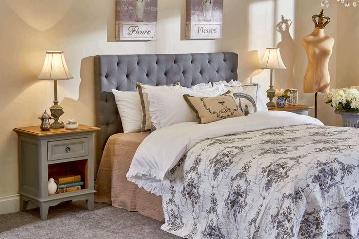 Amelia queen bedhead and Esquisse bedside in grey