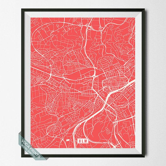 Ulm Print Germany Poster Ulm Map Germany Print Ulm by VocaPrints