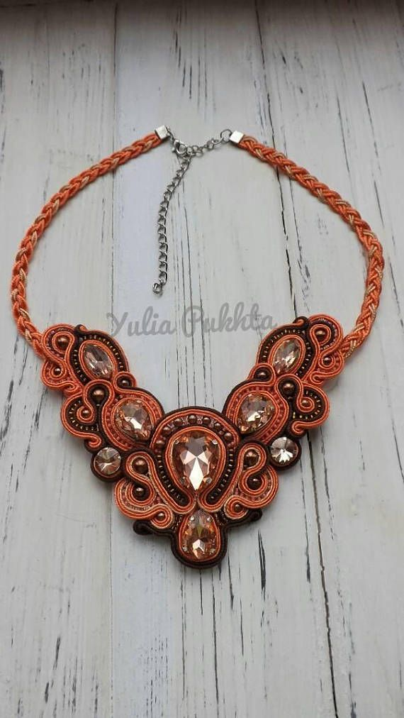 Soutache bib necklace Statement necklace Peach soutache necklace Rhinestone necklace Beaded necklace Free shipping Bohemian pendant. Free shipping Soutache necklace is made of soutache, Czech beads, rhinestones. Beaded necklace is ebelished with felt. The lenth of the statement necklace