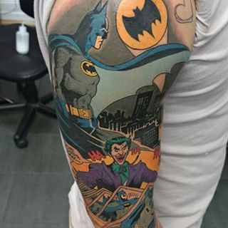 No need to send out the Bat-Signal, just call this guy. | 27 Themed Tattoo Sleeves That Are Basically Works Of Art