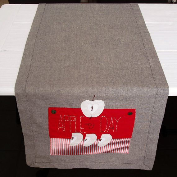 Apples table runner in grey and red