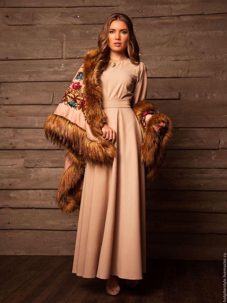 """Платье """"Княжеская знать"""" - однотонный, модное платье, хлопоковое платье, макси платье"""