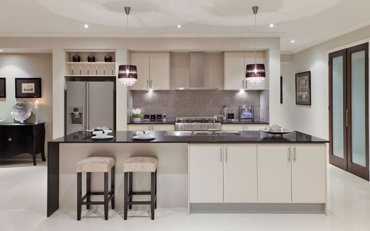 Grey Theme Silver Mosaic Splashback Tiles White Cupboards And Black Benchtop Inside The