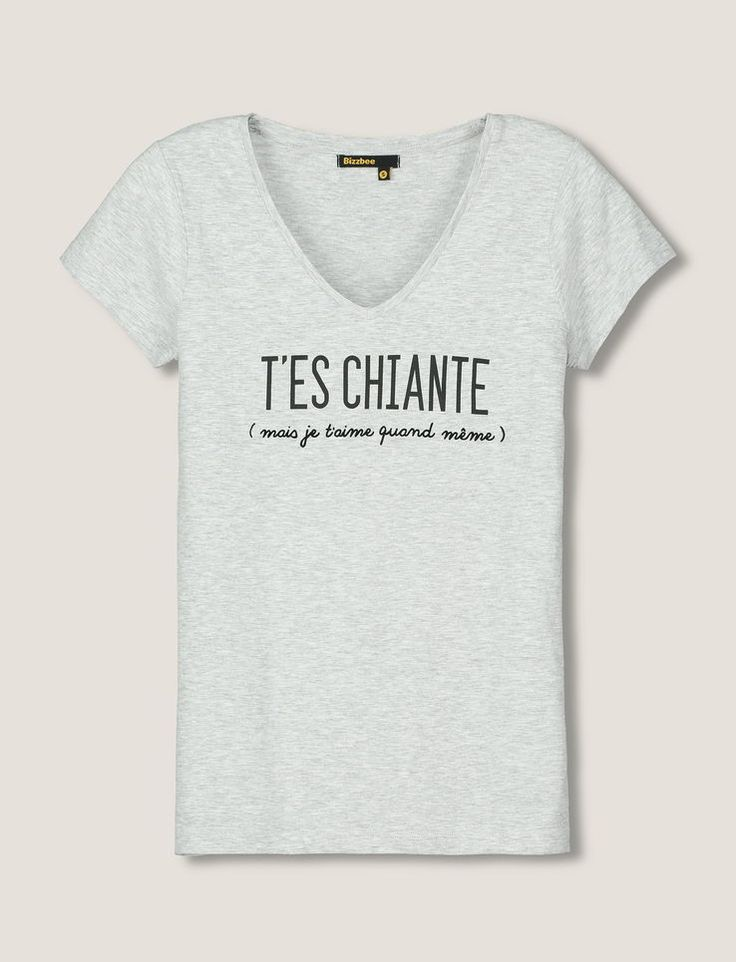 tshirt a message femme attention je mords blanc
