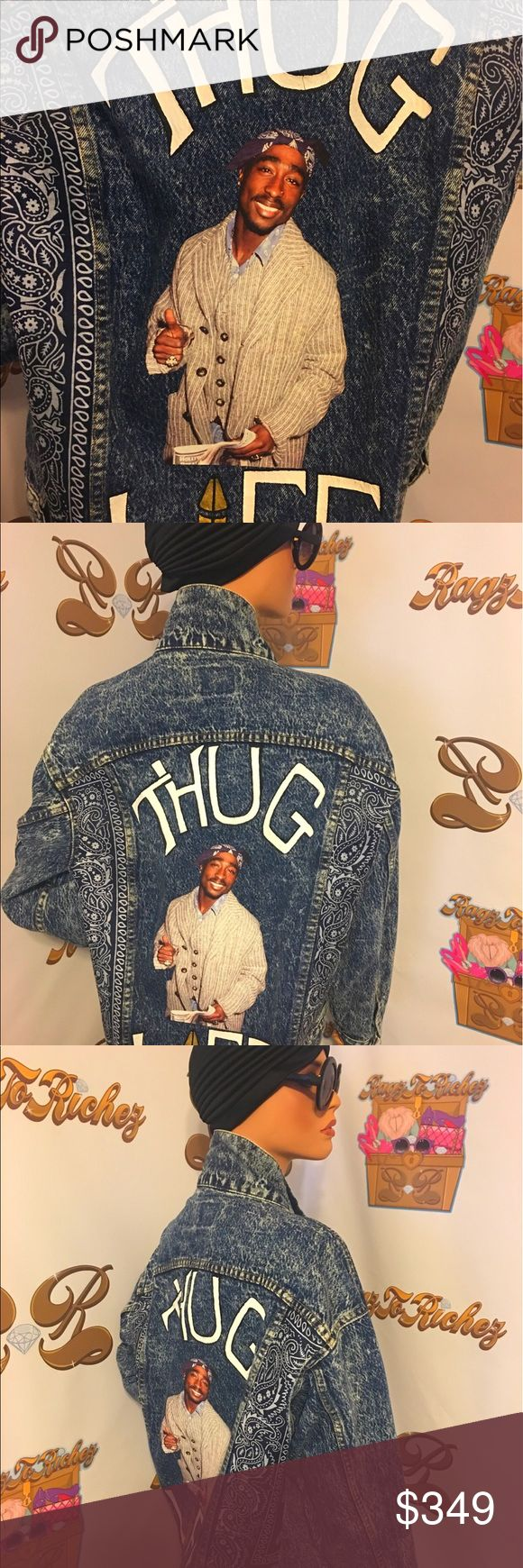 Tupac Thug life Custom Jacket. PRICE IS FIRM! Up for sale is this custom hand painted Tupac thug life bandanna jacket on Vintage Levi. On Sale till June 16. Levi's Jackets & Coats Bomber & Varsity