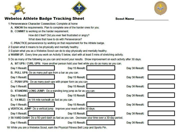 Webelos Athlete Badge Individual Tracking Sheet Webelos