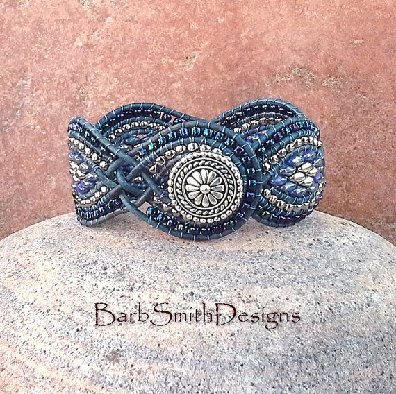 Blue Silver Superduo Wrap Cuff Bracelet  The by BarbSmithDesigns