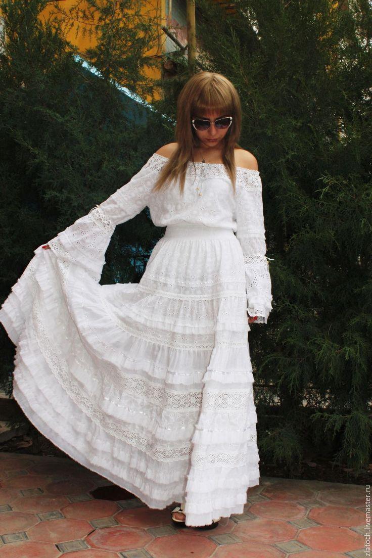 Купить Бохо-шик (хлопок шитье, кружево, шелк, хлопок) - белый, однотонный, Бохо платье