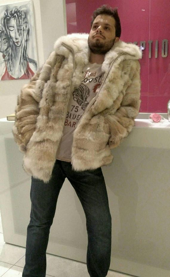 MEN'S NEW!!! Real Natural Hooded light color COYOTE Fur Coat