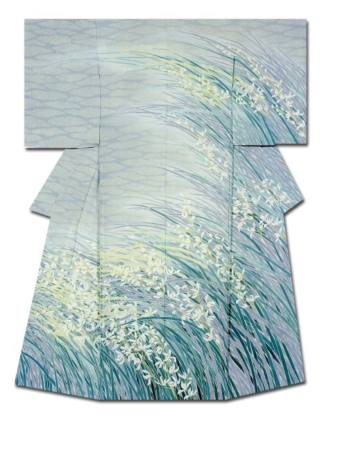 """Wind Examine"" Kimono created by Kenji Nakai.  Governor of Kyoto Prefecture Award. 32nd Annual Meeting of the Japanese textile artist Exhibition award work  Japan"