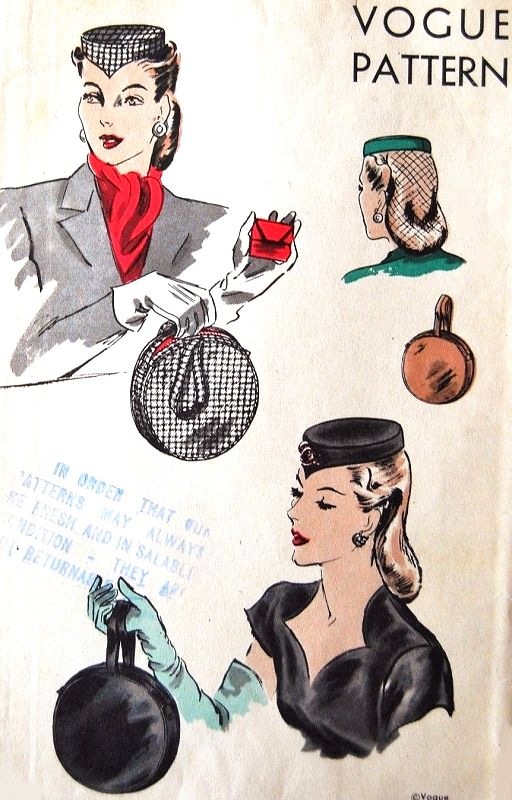 1940s Film Noir Style PILL BOX HAT and Round Hand Bag Purse Pattern VOGUE 5272 Day or Evening Cocktail Party Style Vintage Sewing Pattern