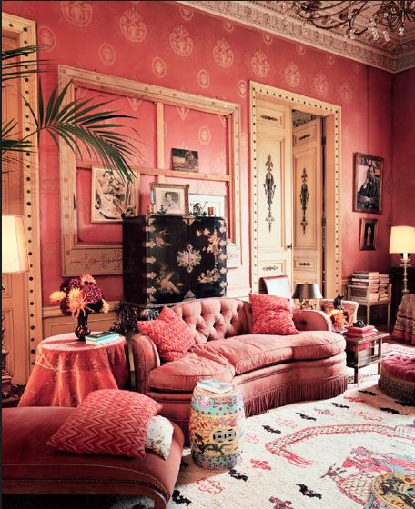 Red salon at Dries Van Noten's home near Antwerp, Belgium. Picture by François Halard for US Vogue