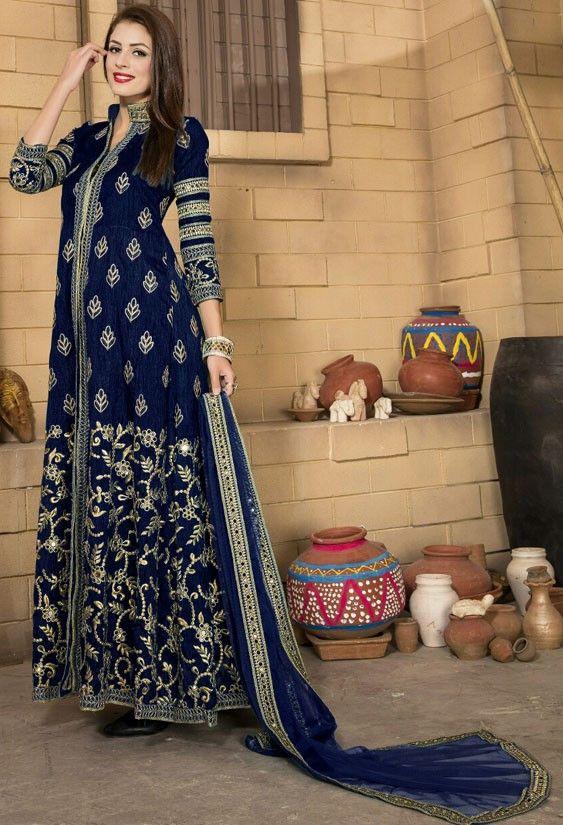 Decorous Navy Blue Banglori Silk Suit  https://www.ethanica.com/products/decorous-navy-blue-banglori-silk-suit