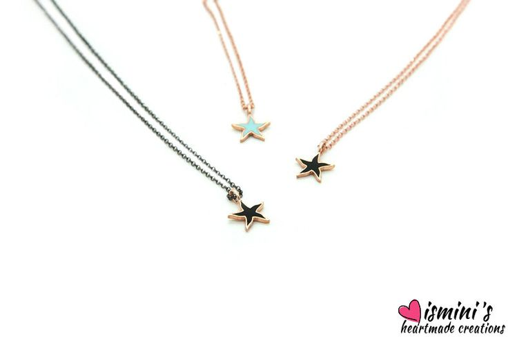 Star necklace, Silver necklace, Necklace, Jewellery, Blue, Black, Gift for her,Silver star by IsminisHeartmade on Etsy