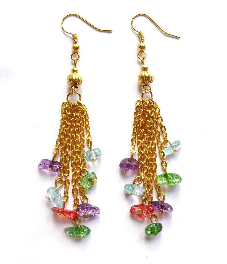 Earrings with colored crystals.