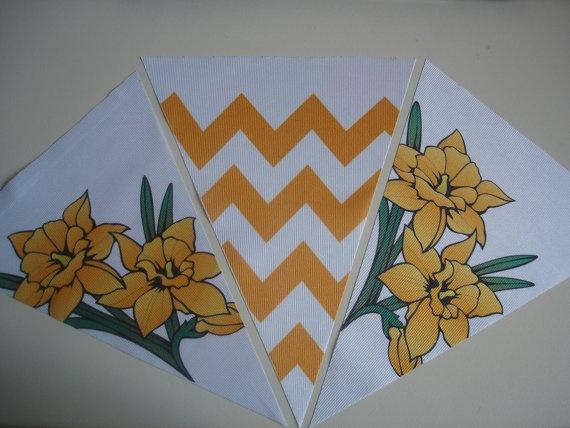 Fabric Bunting Chevron Black Yellow Flower by customflag on Etsy, $19.00
