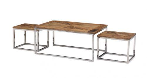 Tøft sett betående av Avignon sofabord og to sidebord. Bordene er produsert i en kombinasjon av et moderne understell i pusset rustfri stål og en røff og rustikk bordplate av resirkulert alm. Bordene selges kun som sett.