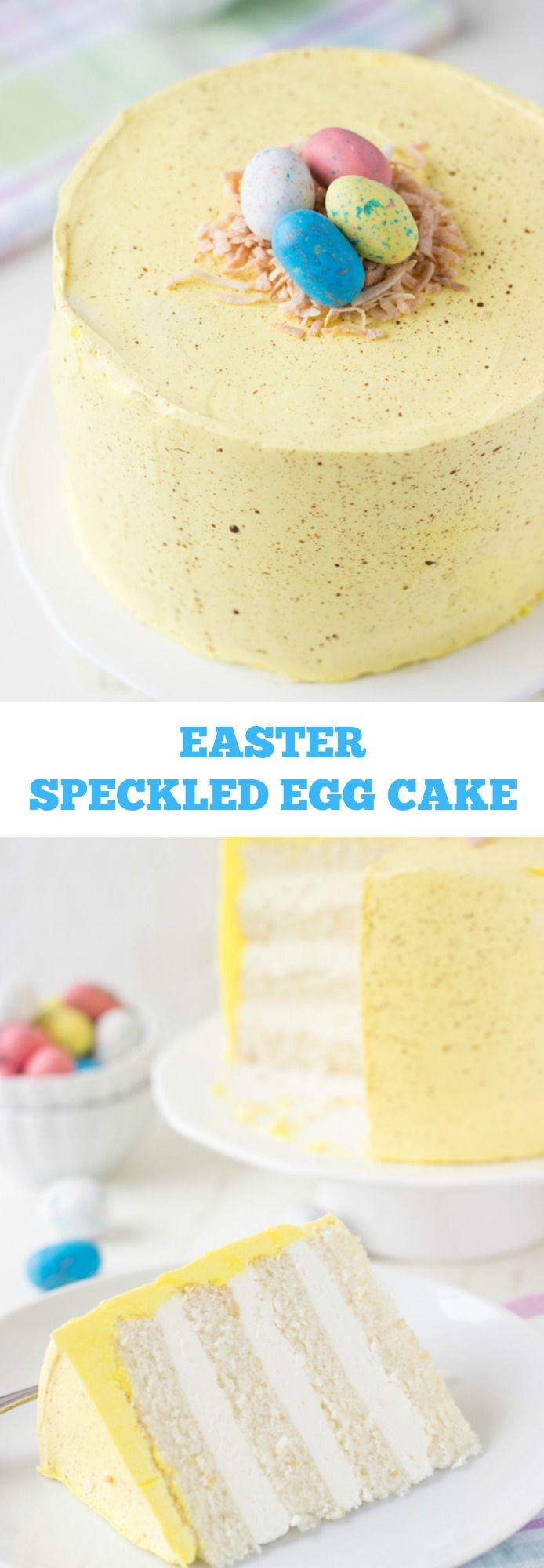 Easter Speckled Egg Cake - a soft coconut lemon layer cake decorated for Easter ~ http://blahnikbaker.com