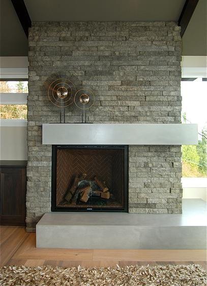 Washington Waterfront Living Room Stone Fireplace Modern
