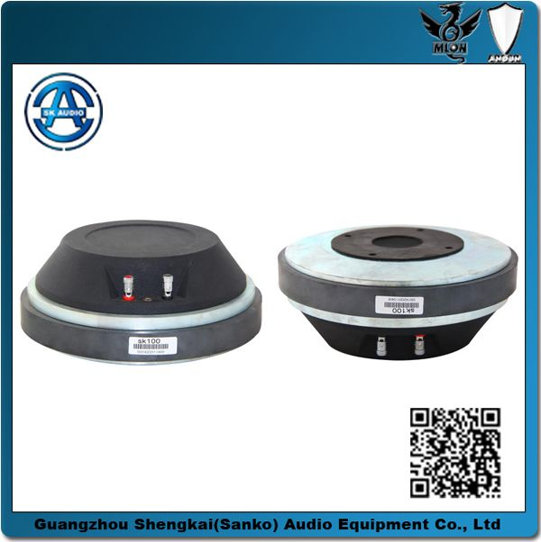 """tweeter/compression driver/hifi driver/2 inch tweeter  """"Throat Diameter: 40 mm   Frequency Range: 450-15000HZ Rated Impedance:8Ω   Voice Coil Diameter:100 mm Voice Coil Material:CCAR Power  Capacity:150W   Sensitivity (1w/1m):110 dB Magnetic Dimension::220*110*25mm          G.W :6.1kg                    Packing size:222*222*76mm/1PCS"""""""