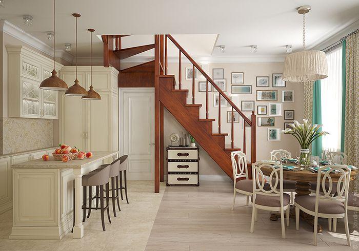 Основной цветовой контраст помещения - лестница из темного дерева, оставшаяся от предыдущих хозяев квартиры.