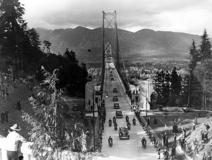 The Lions Gate Bridge opened to traffic in November, 1938 but the official opening was on this day, May 26, 1939, overseen by this royal couple, King George VI and Queen Elizabeth. Here are some construction pics to mark the occasion.