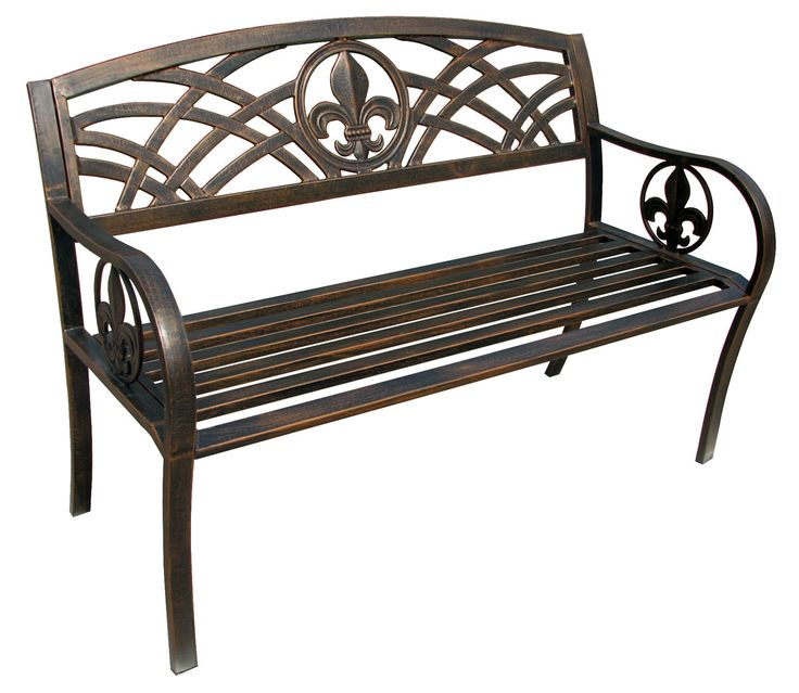 Features:  -Powder coated bronze finish.  -Beautiful and unique design across the back panel.  -Heavy duty steel tube construction.  -Welded openings to prevent rust.  -Fleur de Lis collection.  -Hard