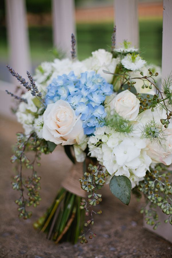 Blue and White Hydrangea Bridal Bouquet 275x412 Loudoun County Farm Wedding Ceremony: Stacy + Howard- Perrrrtty