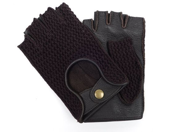 Mens fingerless driving gloves/deerskin leather and wool knitted gloves/bike rides/leather gloves/gift for him/driving gloves/bicycle gloves