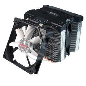 Ventilador de CPU diseñado para para los modelos Intel LGA y AMD. Se trata de una estructura que integra 2 ventiladores de 120mm montados sobre 2 radiadores basado en tuberías de cobre. Uno de los ventiladores permite ser orientado para refrigerar mejor los componentes electrónicos de la placa madre.