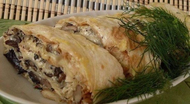 ЗАПЕЧЁННЫЙ РУЛЕТ ИЗ ЛАВАША С ГРИБАМИ | Самые вкусные кулинарные рецепты