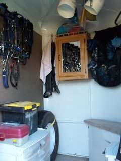 Trot on Hank: Trailer tackroom, horse trailer organization. Medicine cabinet & U hooks for curtains maybe?