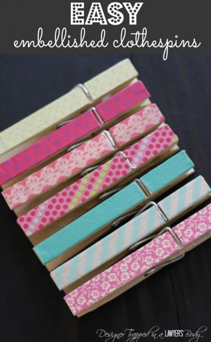 MUST PIN!  Super easy embellished clothes pins.  Perfect to hang photos or display art!  By Designer Trapped in a Lawyer's Body. http://designertrapped.com/2014/07/clothespin-crafts.html