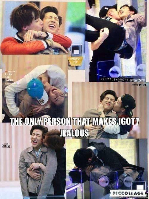 GOT7 members kissing BamBam
