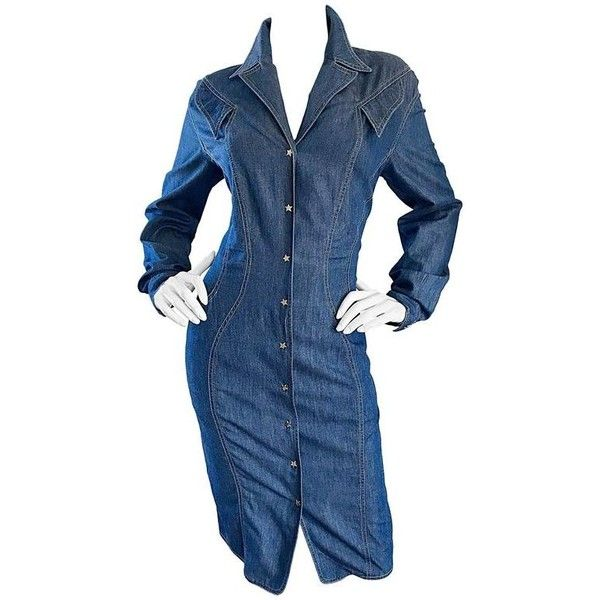 Preowned Vintage Thierry Mugler Denim Blue Jean 1990s Avant Garde... ($1,250) ❤ liked on Polyvore featuring dresses, blue, cocktail dresses, bodycon dresses, long sleeve dress, long-sleeve denim dresses, vintage denim dress and long sleeve day dresses