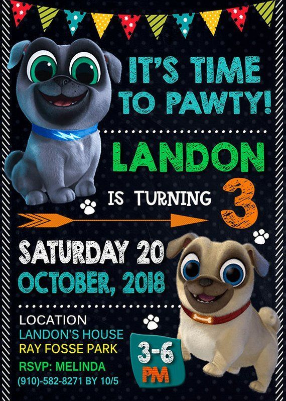 Puppy Dog Pals Invitation Boy Invitation Puppy Dog Pals Birthday Invitation Puppy Dog P Puppy Birthday Parties 2nd Birthday Boys 2nd Birthday Party For Boys