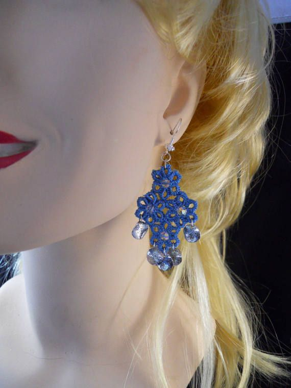 Bluebell Sky blue  Tatted Drop Earrings with by MummyearthDesigns