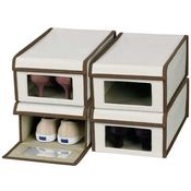 Clear Plastic Shoe Boxes  Canvas Shoe Box Storage Containers w/ Lids