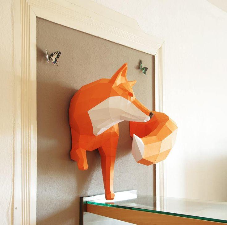 https://flic.kr/p/kauJ6A | 3D Paper Fox | Created by Wolfram Kampffmeyer of Etsy shop Paperwolf. Blogged: www.allthingspaper.net/2014/02/3d-paper-craft-animals-pap...