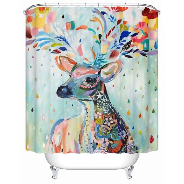 Yaratıcı Kişilik Renkli Geyik Duş Perdesi Su Geçirmez Kalınlaşma Banyo Bez Banyo Perdesi Duş Perdeleri