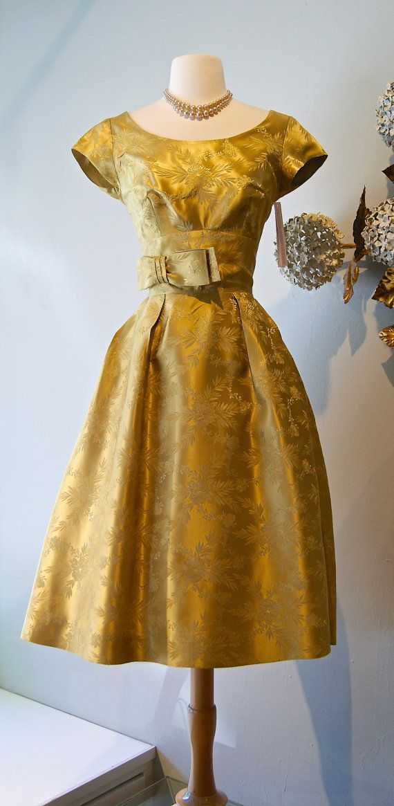 Vintage 1960s Golden Brocade Cocktail Dress / 60s by xtabayvintage
