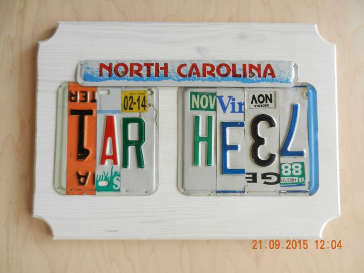 North Carolina Tar Heel License Plate Sign (Made to Order) by TreasuredSunsets on Etsy