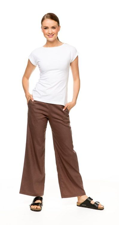 Hemp Straight Leg Pants, made from a blend of natural hemp fibres, recycled polyester and spandex. Available in Cinnamon (pictured) or Wheat. $79.00
