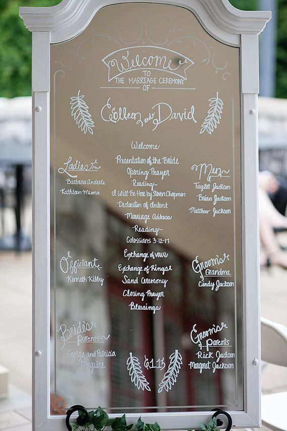 Order of the Day Mirror (via EmmalineBride.com) - Wedding Program Alternative by The Lovely Glass Jar