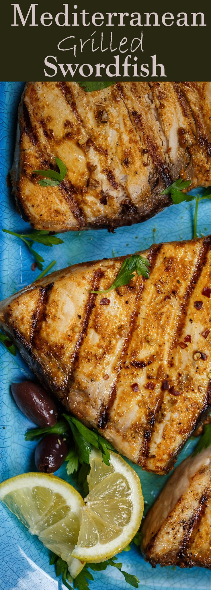Grilled Swordfish Recipe with a Mediterranean twist   The Mediterranean Dish. Grilled swordfish infused with Mediterranean spices, fresh garlic, and good EVOO. One easy fish recipe that is every bit as flavorful and healthy. See the full recipe on TheMediterraneanDish.com