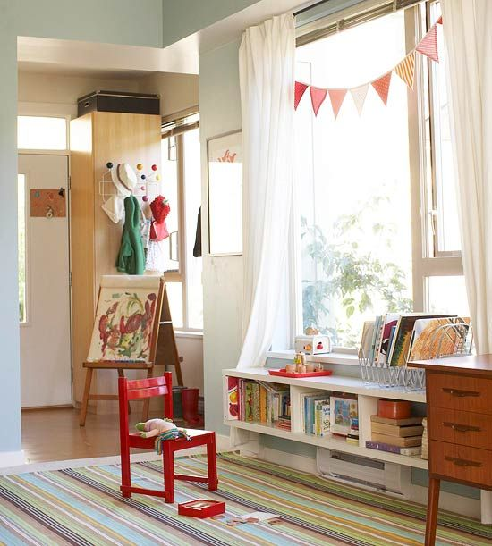 Bookshelf mounted below the window