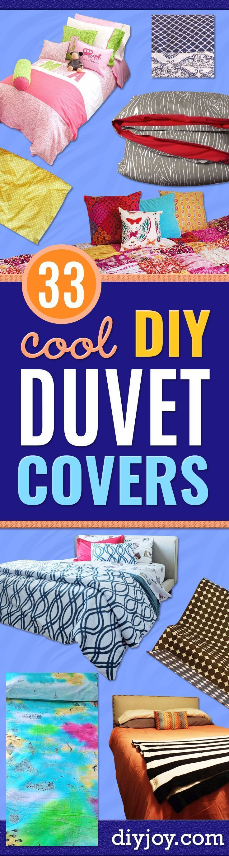 DIY Duvet Covers - Easy Sewing Projects and No Sew Ideas for Duvets - Cheap Bedroom Decor Ideas on A Budget - How To Sew A Duvet Cover and Bedding Tutorial - Creative Covers for Bed - Quick Projects for Making Designer Duvets - Awesome Home Decor Ideas and Crafts http://diyjoy.com/diy-duvet-covers #sewingideas