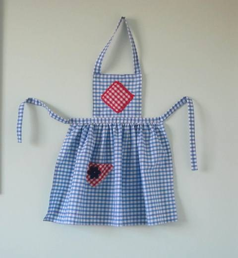 Vintage style blue and white gingham apron with bib