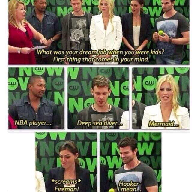 The Originals - Daniel Gillies answer is the best. Claire's answer makes sense if you've seen her previous work prior to TVD and the Originals.