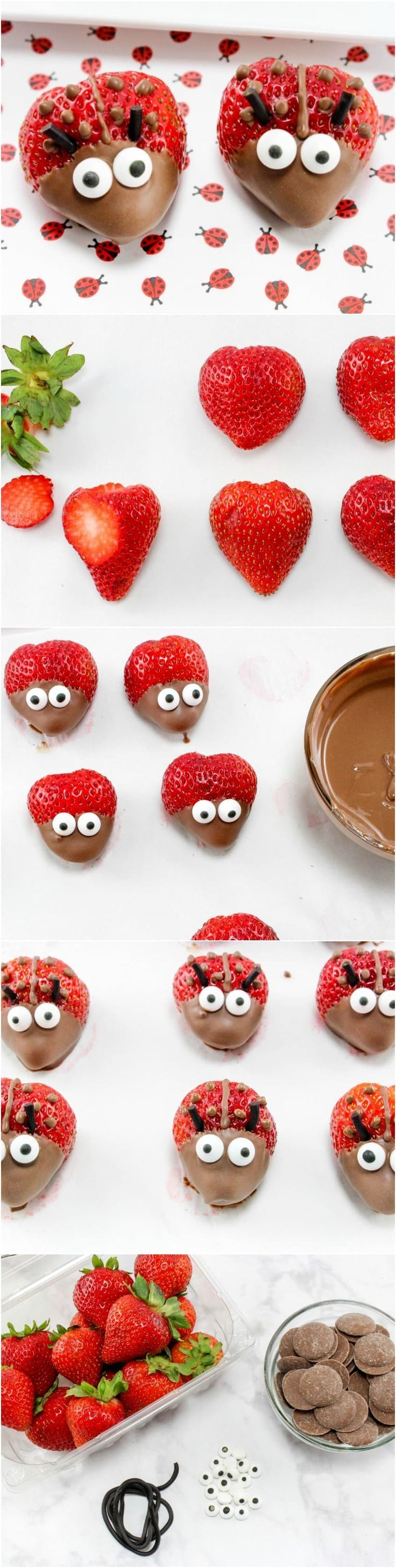 Chocolate Covered Strawberry Ladybugs - The perfect healthy treat option for a summer party, Valentine's Day or just for fun